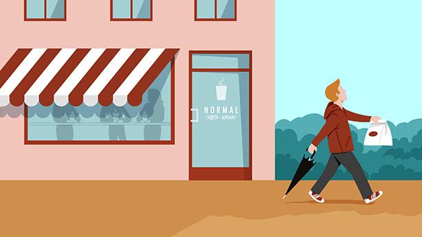Screen für eine Coffeehshop-Werbung.