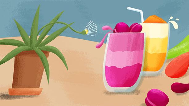Screen für eine Proteinshake-Werbung.