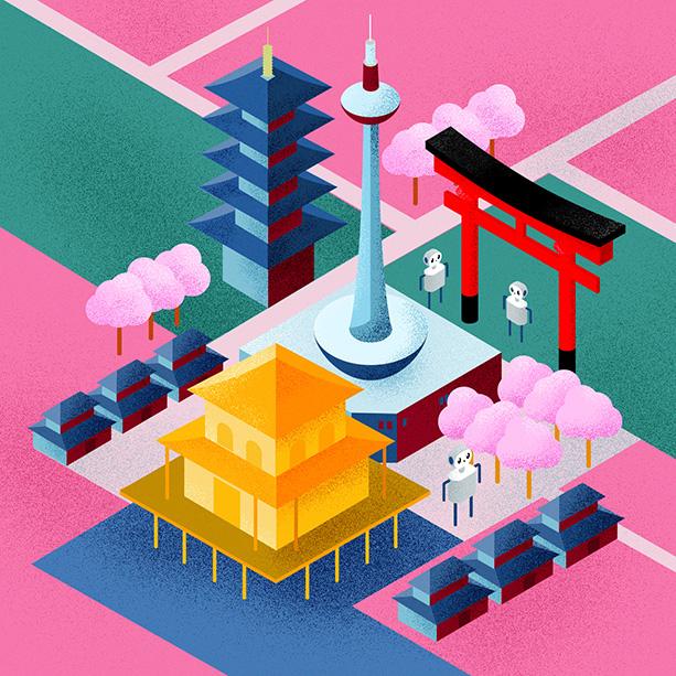Kyoto in isometrischer Perspektive.