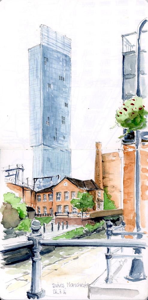 Castlefield mit Hilton im Hintergrund