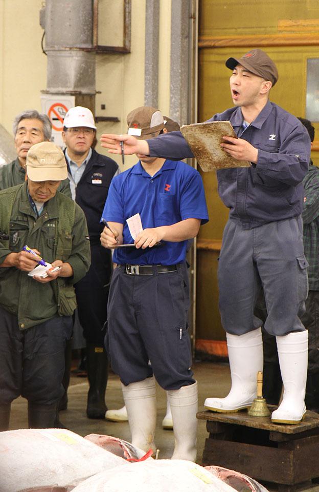 Tsukiji Fischmarkt | Thunfischauktion-Der Marktschreier und seine Käufer